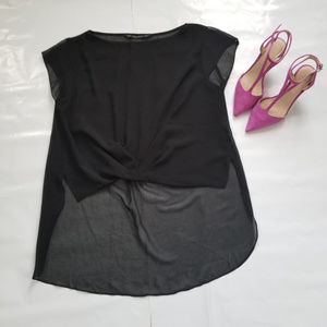 Zara hi-Low blouse with sheer pleated back